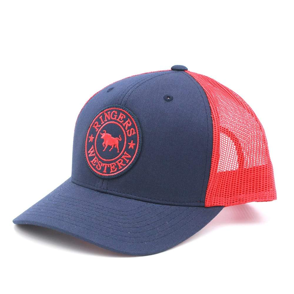 6cf0c11f5353d Ringers Western Signature Bull Trucker – Navy Red with Red Navy Patch