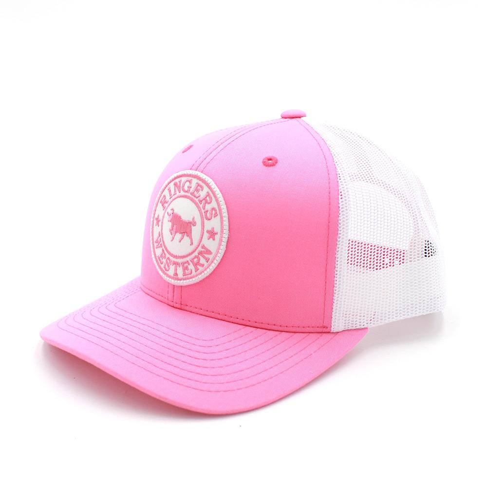 6202cd1b4367e Ringers Western Signature Bull Trucker – Pink White with Pink White Patch