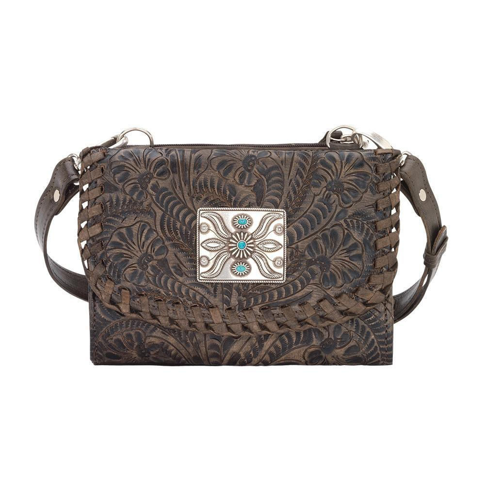 a64c3decca American West Texas Two Step Small Crossbody Bag Wallet – Distressed  Charcoal Brown