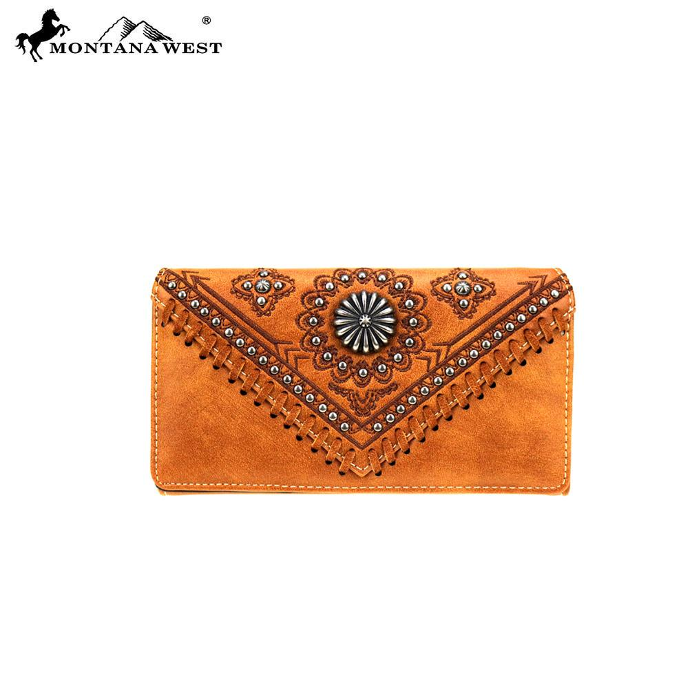 Montana West Concho Womens Flower Studded Trifold Western Wallet Brown Gold